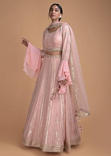 Powder Pink Lehenga Set In Georgette With Lucknowi Thread Embroidery Online - Kalki Fashion