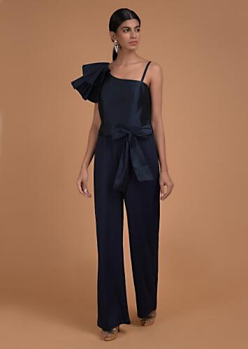 Prussian Blue Jumpsuit With Fancy Pleated Frill On The Shoulder Online - Kalki Fashion