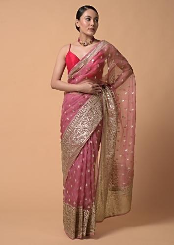 Punch Pink Saree In Organza With Zari Cord Embroidery In Floral And Paisley Motifs Online - Kalki Fashion