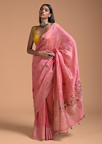 Punch Pink Saree In Tussar With Bud Embroidered Floral Buttis Online - Kalki Fashion