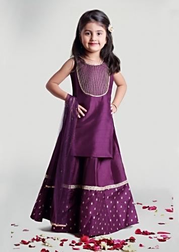 Purple Circular Skirt And Kurta Set With Embroidery Detailing On The Hemline And Yoke By Mini Chic