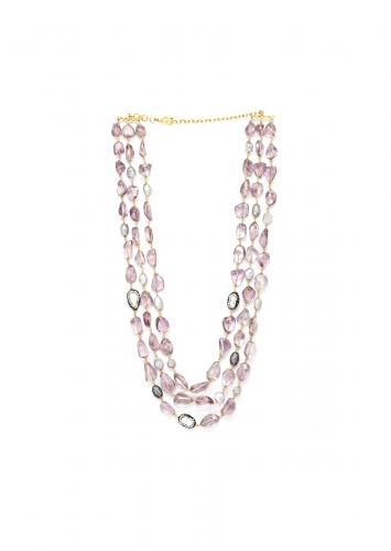 Purple Three Layered Necklace With The Richness Of Baroque Pearls And Amethyst Tumbles Online - Joules By Radhika