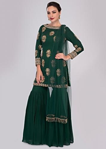 73c8342a77591 Rama green sharara paired with matching suit in sequins and zardosi butti  only on Kalki