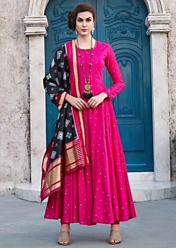 35cd1233e41 Rani pink anarkali suit with black silk dupatta