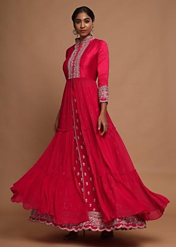 Rani Pink Anarkali With Front Slit And Lehenga With Floral Buttis Online - Kalki Fashion