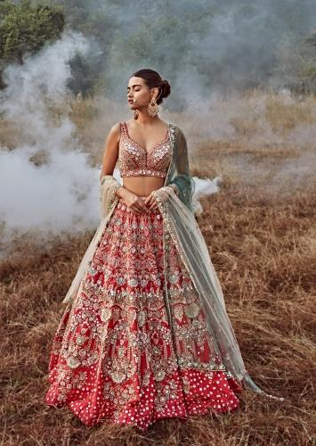 Rani Pink Lehenga Choli In Raw Silk With 3D Flowers And Cut Dana Embroidered Summertime Flowers And Chandelier Motifs Online - Kalki Fashion