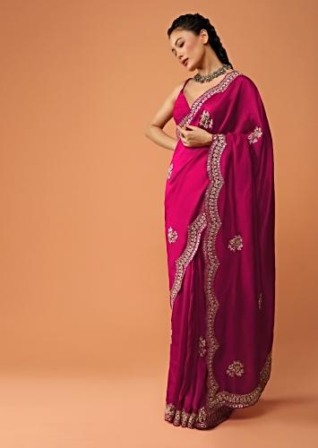 Rani Pink Saree In Dupion Silk With Scalloped Border And Buttis Featuring Gotta Patti And Sequins Embroidery Online - Kalki Fashion