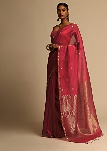 Rani Pink Saree In Cotton Silk With Woven Buttis And Thin Border Along With Unstitched Blouse Online - Kalki Fashion
