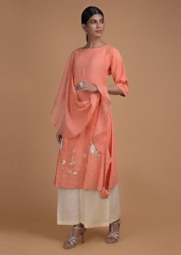 Ravishing Coral Peach Tunic In Cotton Enhanced With Foil Printed Floral Pattern And Attached Drape Online - Kalki Fashion