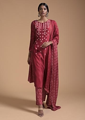 Red A Line Suit In Cotton With Printed Stripes In The Sides And Sequins Embroidery Online - Kalki Fashion