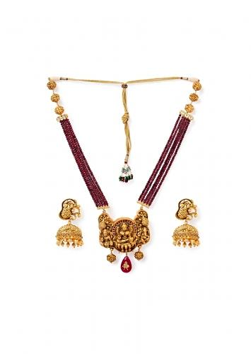 Red Agate Necklace And Jhumka Set With Carved Temple Motifs And Hydro Kundan Polki Online - Joules By Radhika