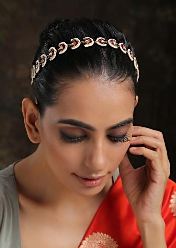 Red And Gold Headband With Uncut Polki, Ruby And Moti Arranged In Crescent Motifs That Have A Timeless Classic Look By Paisley Pop