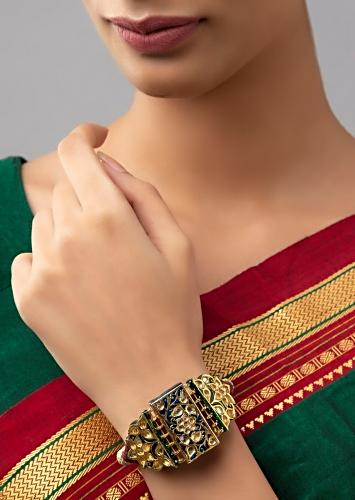 Red And Gold Meenakari Bracelet With Carved Floral Design, Hydro Kundan Polki And Silk Thread Online - Joules By Radhika