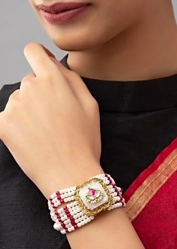 Red And White Bracelet With Mother Of Pearl Carved Stone And Strings Of Shell Pearls, Hydro Red And Agate Beads Online - Joules By Radhika