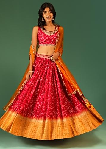 Red And Yellow Ombre Lehenga In Silk With Bandhani Design All Over And Brocade Border Online - Kalki Fashion