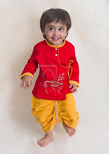 Red Kurta And Yellow Dhoti Set In Cotton With Thread And Zari Embroidered Horse Motifs By Tiber Taber