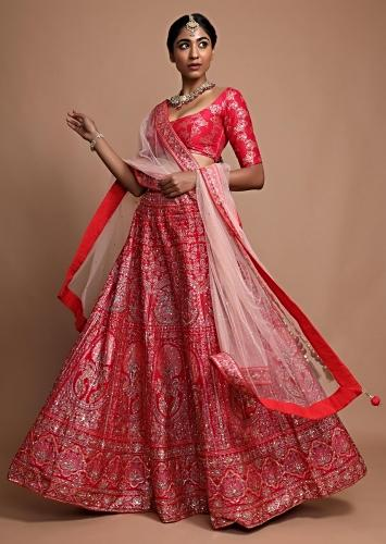 Red Silk Lehenga Choli With Floral Printed Peacock And Floral Motifs Online - Kalki Fashion