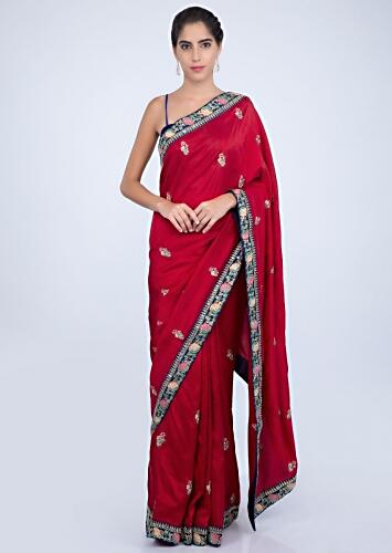 c2a5df55037 Red silk saree with butti and heavy embroidered border only on kalki