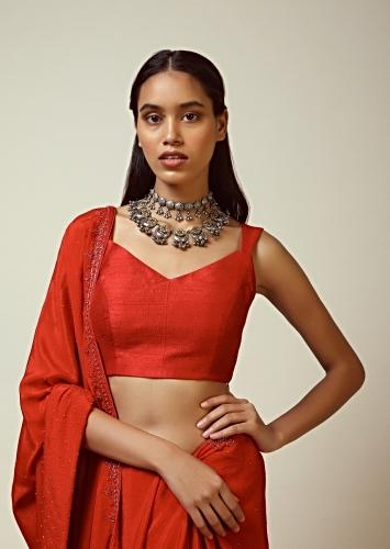 Red Sleeveless Blouse In Raw Silk With V Cut Neckline And Side Zip Closure Online - Kalki Fashion