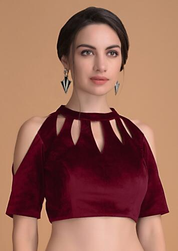 Red Blouse In Velvet With Cut Out On The Neckline Online - Kalki Fashion