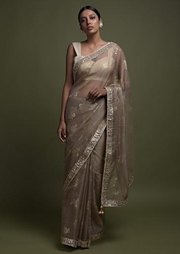 Rhino Grey Saree In Organza With Foil Printed Floral Buttis And Gotta Lace On The Border Online - Kalki Fashion
