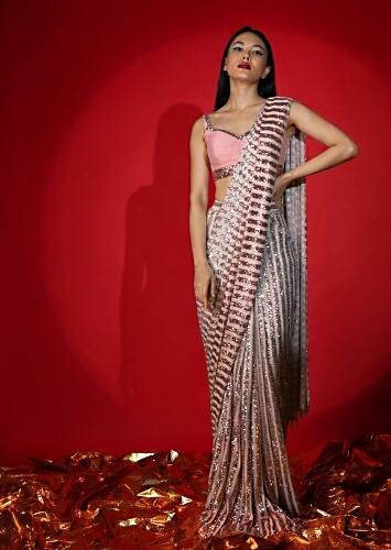 Rose Pink Ombre Ready Pleated Saree In Striped Sequins Fabric With A Raw Silk Blouse Embellished With Sequins Online - Kalki Fashion