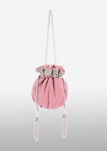 Rose Pink Potli Bag In Crushed Sequins Fabric With Cut Dana And Zardosi Embroidery Detailing Online - Kalki Fashion