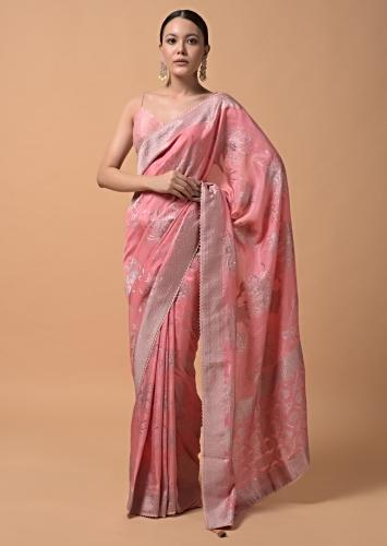 Rose Pink Saree In Silk With Brocade Woven Floral Motifs And Sequins Accents Online - Kalki Fashion