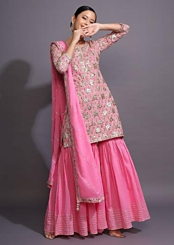 Rose Pink Sharara Suit With Printed Buttis And Gotta Patti Accents Online - Kalki Fashion