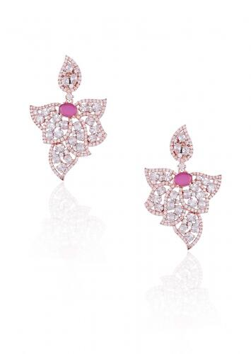 Rose Gold Plated Earrings In Stylish Leaf Motif Studded With Faux Diamonds And Ruby By Aster