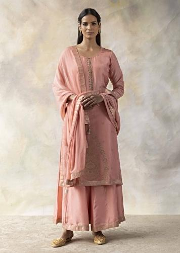Rose Pink Palazzo Suit In Silk With Mirror Embellished Placket And Brocade Design Online - Kalki Fashion
