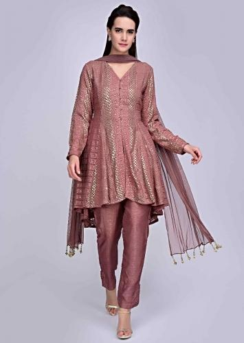 ee44796ff4b2 Rosewood pink lucknowi embroidered suit with matching pant and lycra net  dupatta only on Kalki