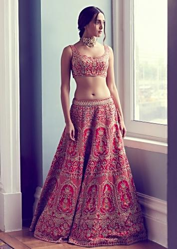 Rosewood Red Lehenga With Matching Blouse In Raw Silk And Mint Blue Net Dupatta Online - Kalki Fashion