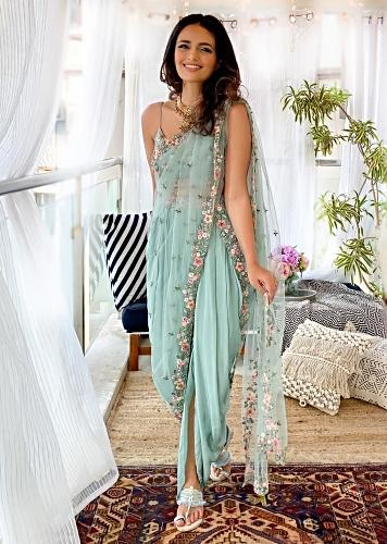 Roshni Chopra In Kalki Sage Green Dhoti Suit With A Raw Silk Crop Top Adorned Using Vibrant Resham Embroidered Summer Blooms