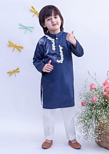 Royal Blue Kurta With Dori Work Paired With Off White Pants By Fayon Kids