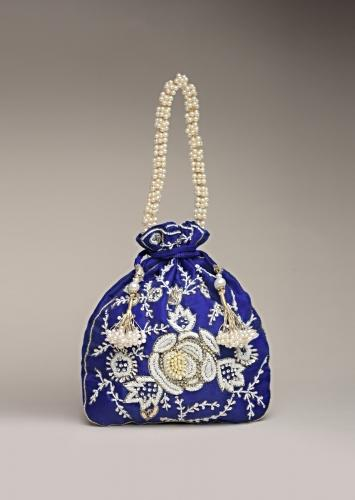 Royal Blue Potli Bag In Raw Silk With Moti Embroidery In Rose Motif And Floral Design Online - Kalki Fashion