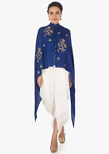 Royal Blue Crop Top In Raw Silk With A Cape Jacket Matched With Fancy Dhoti Pants Online - Kalki Fashion