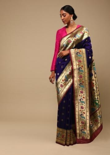 Royal Blue Saree In Pure Handloom Silk With Woven Multi Colored Peacock Motifs On The Border, Floral Buttis And Unstitched Blouse Online - Kalki Fashion