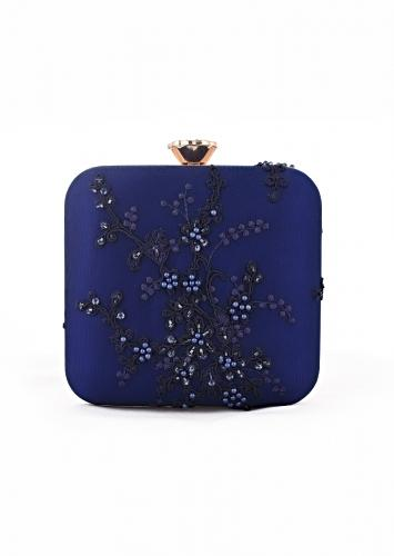 Royal Blue Square Box Clutch With Embroidered Net Adorned In Beads, Sequins And Resham In Floral Design Online - Kalki Fashion