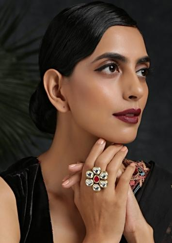 Ruby Red And Gold Ring With Exquisite Kundan Detailing And Emboss Work Studded With High Grade Stones By Paisley Pop
