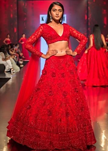 96f8b6817e0 Ruby red embroidered net lehenga set with floral and temple motif only on  Kalki