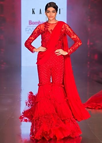 91c8ef9149cd Ruby red sharara style jumpsuit saree with draped pallo only on Kalki