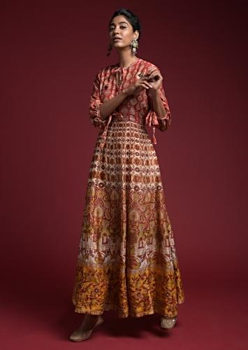 Rust Red Anarkali Dress In Silk With Multi Color Floral And Ethnic Print And Balloon Sleeves Online - Kalki Fashion