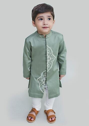 Sage Green Kurta Set With Resham Embroidery In Persian Art Inspired Motifs By Tiber Taber
