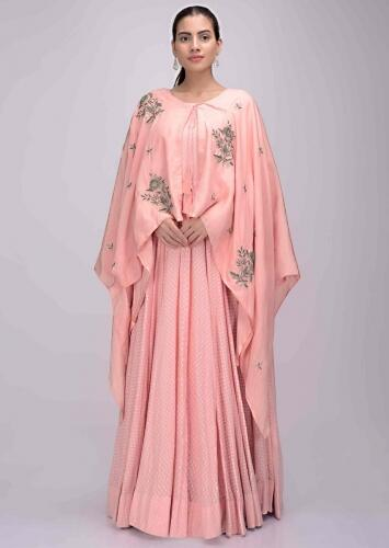 Salmon Pink Gown In Cotton With Matching Crepe Cape Online - Kalki Fashion