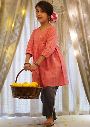 Salmon Pink Stitched Wrap Style Kurta And Dark Grey Pants Set In Hand-woven Cotton Love The World Today