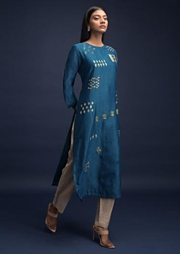 Sapphire Blue Straight Cut Kurti In Cotton With Sequins Work In Floral And Geometric Motifs Online - Kalki Fashion