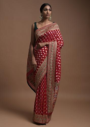 Scarlet Red Banarasi Saree In Georgette With Golden And Silver Weaved Buttis Online - Kalki Fashion