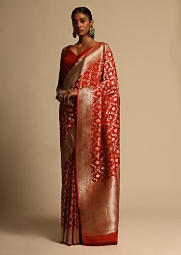 Scarlet Red Banarasi Saree In Pure Handloom Silk With Woven Jaal And Floral Motifs Along With Unstitched Blouse Piece Online - Kalki Fashion