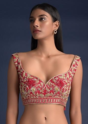 Scarlet Red Blouse In Raw Silk With Floral Jaal Embroidery Online - Kalki Fashion